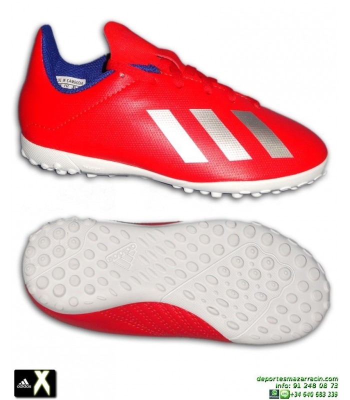 sports shoes 5b247 e5645 Zapatilla Futbol Niño ADIDAS X Rojo Turf 18.4 BB9417 Minitacos Bale Marcelo  Diego Costa Salah James