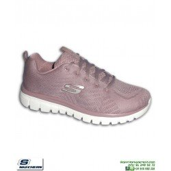 Deportiva Skechers Mujer GRACEFUL Get Connected LAVANDA-Blanco 12615/LAV PANTILLA Memory Foam