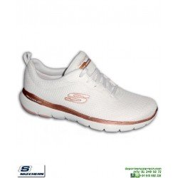 Zapatilla Mujer Skechers Flex Appeal 3.0 First Insight Blanca 13070/WTRG plantilla Memory Foam