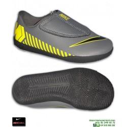 Nike MERCURIAL VAPOR 12 CLUB Niño Gris-Amarillo Zapatilla Futbol Sala Velcro  AH7356-070