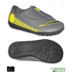 Nike MERCURIAL VAPOR 12 CLUB Niño Gris-Amarillo Zapatilla Futbol Turf Velcro