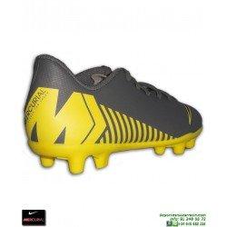 Nike MERCURIAL VAPOR 12 CLUB Niño Gris-Amarillo Bota Futbol Tacos AH7350-070
