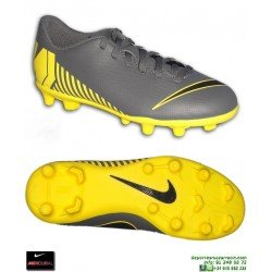Nike MERCURIAL VAPOR 12 CLUB Niño Gris-Amarillo Bota Futbol Tacos
