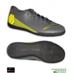 Nike MERCURIAL VAPOR 12 CLUB Gris-Amarillo Zapatilla Futbol Sala