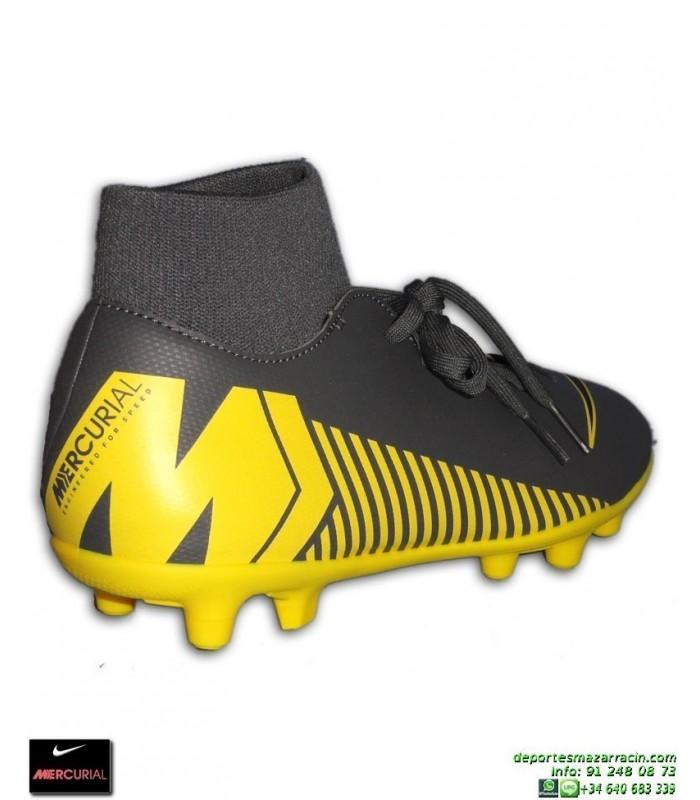 d0c9a0cb152 Nike MERCURIAL SUPERFLY 6 CLUB Gris-Amarilla Bota Futbol Calcetin taco FG MG