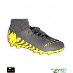 Nike MERCURIAL SUPERFLY 6 CLUB Gris-Amarilla Bota Futbol Calcetin taco FG/MG