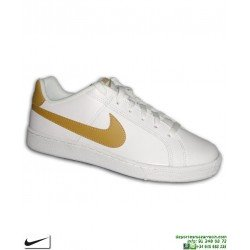 Deportiva Clasica Nike COURT ROYALE Blanco-Dorado 749747-106 tenis classic