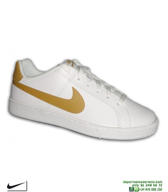 112ba4ad8 Deportiva Clasica Nike COURT ROYALE Blanco-Dorado 749747-106 tenis classic
