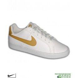 Zapatilla Clasica Nike COURT ROYALE Chica Blanco-Dorado piel 833535-105 mujer