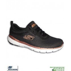 Zapatilla Mujer Skechers Flex Appeal 3.0 First Insight Negro-Dorado 13070/BKRG