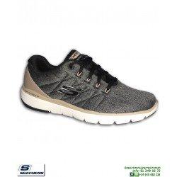Zapatilla Skechers FLEX ADVANTAGE 3.0 Stally Gris-Bronce hombre plantilla Memory Foam 52957/BLK