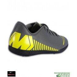 Nike MERCURIAL VAPOR 12 CLUB Niño Gris-Amarillo Zapatilla Futbol Sala fb7cd10e6cc70