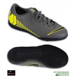 Nike MERCURIAL VAPOR 12 CLUB Niño Gris-Amarillo Zapatilla Futbol Sala AH7354-070
