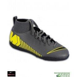 Nike MERCURIAL SUPERFLY 6 CLUB Niño Gris-Amarillo Zapatilla Futbol Sala