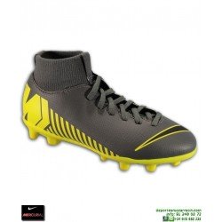 Nike MERCURIAL SUPERFLY 6 CLUB Gris-Amarilla Bota Futbol Niño Calcetin