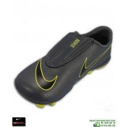 Nike MERCURIAL VAPOR 12 CLUB Niño Gris-Amarillo Bota Futbol Velcro Tacos AH7351-070 junior
