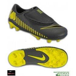 Nike MERCURIAL VAPOR 12 CLUB Niño Gris-Amarillo Bota Futbol Velcro Tacos