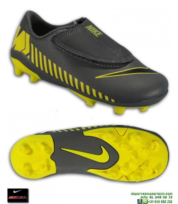 55959f7e36e Nike MERCURIAL VAPOR 12 CLUB Niño Gris-Amarillo Bota Futbol Velcro Tacos  AH7351-070