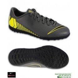 Nike MERCURIAL VAPOR 12 CLUB Niño Gris-Amarillo Zapatilla Futbol Turf AH7355-070 bota junior