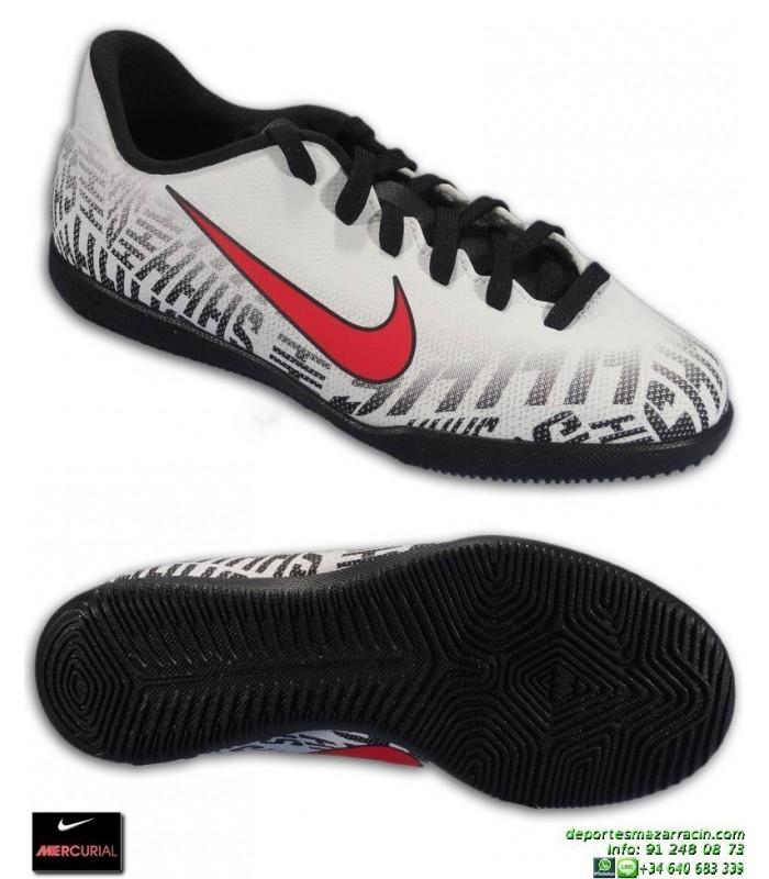 c390c606efb Nike MERCURIAL NEYMAR Blanco-Negro Niño CLUB Zapatilla Futbol Sala