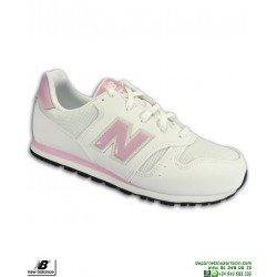 Deportiva NEW BALANCE 373 Chica Piel Blanca-Rosa Mujer Zapatilla moda calle YC373BT