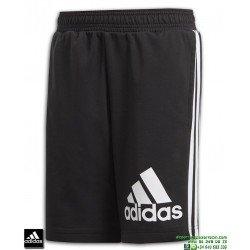 Pantalon Corto ADIDAS Junior MH BOS SH SHORT Negro-Blanco DV0802 algodon
