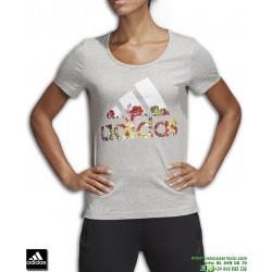 Camiseta Mujer ADIDAS BOS Flower Tee Gris DV2996 manga corta algodon
