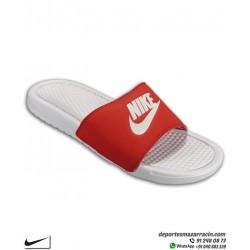 Chancla Nike BENASSI JDI color blanco rojo Sandalia de pala unisex 343880-106