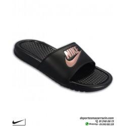 Chancla Nike mujer BENASSI JDI color negro con dorado Sandalia de pala unisex 343881-007