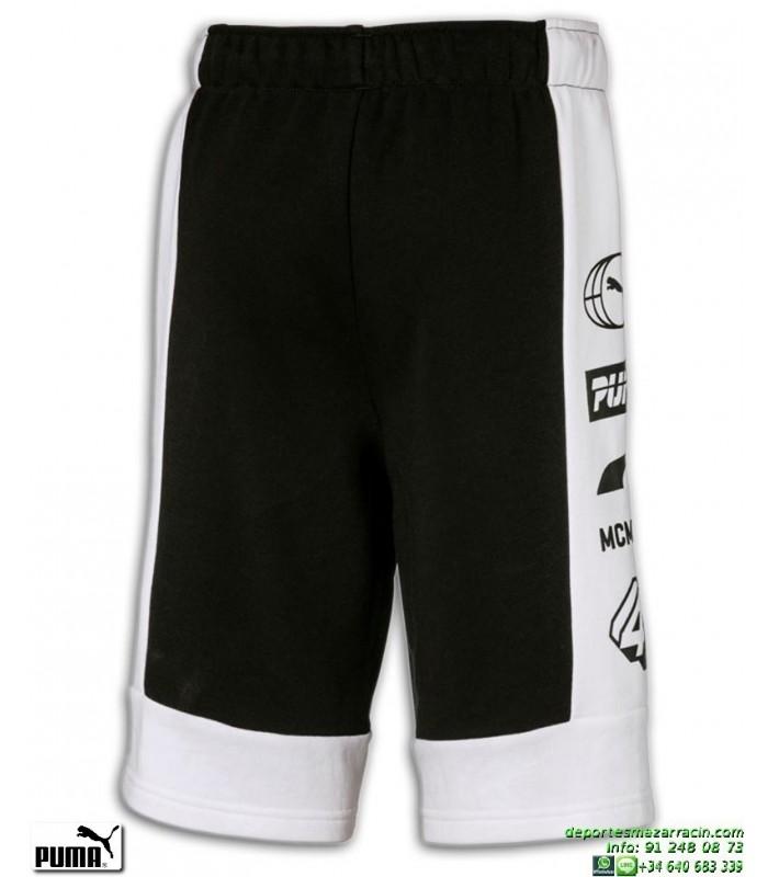 479715166 Pantalon Corto Algodon PUMA ALPHA BERMUDAS Junior Negro-Blanco