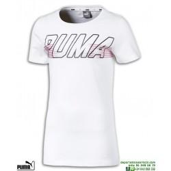 361fa74a8 Camiseta Chica PUMA ALPHA LOGO TEE Blanco-Rosa