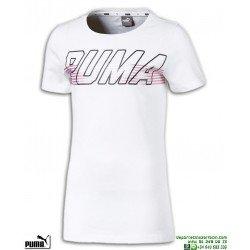Camiseta Chica PUMA ALPHA LOGO TEE Blanco-Rosa algodon 854244-02 manga corta
