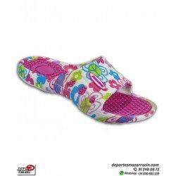 Chancla de Niña John Smith PYME color Rosa con Estampado de Flores sandalia de pala junior