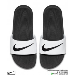 Chancla Nike KAWA SLIDE Blanco con Negro junior