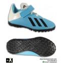 Adidas X 19.4 Niño Azul Celeste Bota Fútbol Turf Velcro