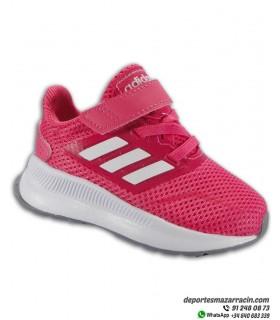 RUNFALCON I Zapatilla De correr para Niñas pequeñas marca ADIDAS con cierre de velcro color rosa con blanco EG2227