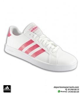 ADIDAS modelo GRAND COURT Blanco y rosa con brilli-brilli EG5136