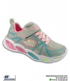Zapatilla luces Niña Skechers S LIGHTS SHIMMER BEAMS SPORTY GLOW Gris velcro 302042LGYMT