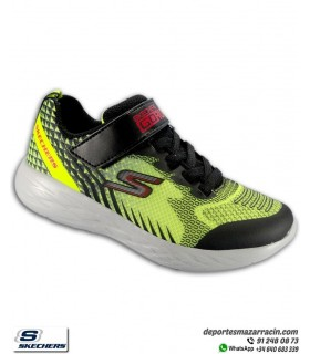 Zapatilla Niño Skechers GORUN 600 BAXTUX Amarillo-negro velcro 97858LYLBK