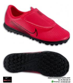 Bota Fútbol turf MERCURIAL VAPOR 13 Club niños cierre velcro rojo carmesi Nike AT8178-606