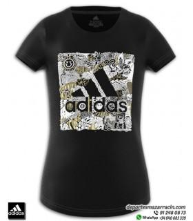 Camiseta ADIDAS para Chica JG MH BOS BOX Negro algodon FM4480