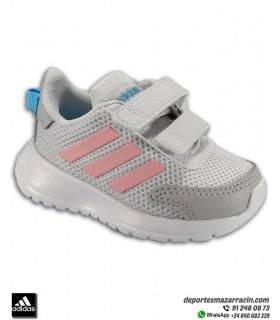 Zapatilla correr Niña pequeña ADIDAS TENSAUR RUN I velcro gris-rosa