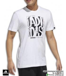 Camiseta ADIDAS grafica Hombre M STMP T Algodon Blanco-negro FM6243