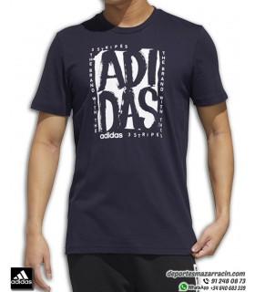 Camiseta ADIDAS grafica Hombre M STMP T Algodon azul Marino FM6246