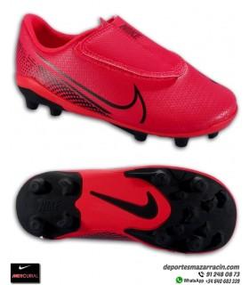 Nike MERCURIAL VAPOR 13 Club Niño Velcro rojo carmesi Bota Fútbol FGMG