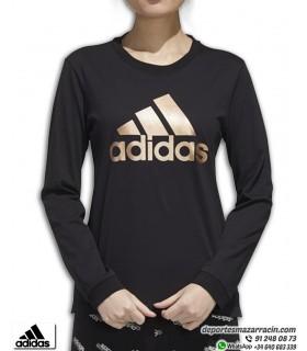 Camiseta Mujer ADIDAS Manga Larga Negro-Dorado