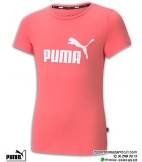 PUMA ESS LOGO TEE Girls Camiseta Rosa Coral