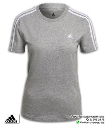 Camiseta Mujer ADIDAS Essential Slim 3 Stripes Gris