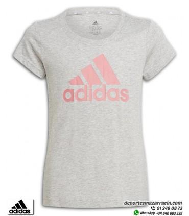 Camiseta Chica ADIDAS Essential Gris-Rosa