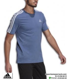 Camiseta ADIDAS Essentials 3 Stripes Azul-Blanco